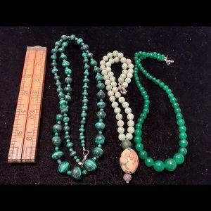 3 stone beaded necklaces polished gemstones